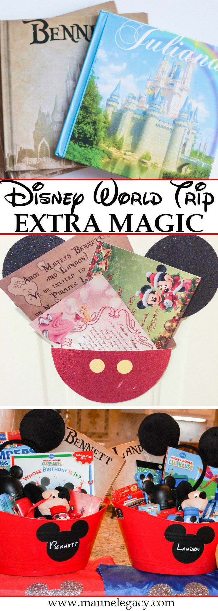 Lifestyle Blogger Maune Legacy shares ideas for the extra Disney World magic you can create for your trip like autograph books, gift baskets, pressed penny containers, luggage tags and more fun details for your next Disney World trip.