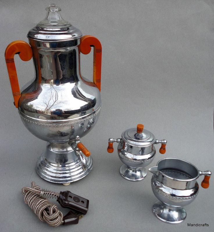Coffee #Percolator Electric Urn 15in #CreamSugar Keystone Ware 40s #Bakelite Knobs #KeystoneWare