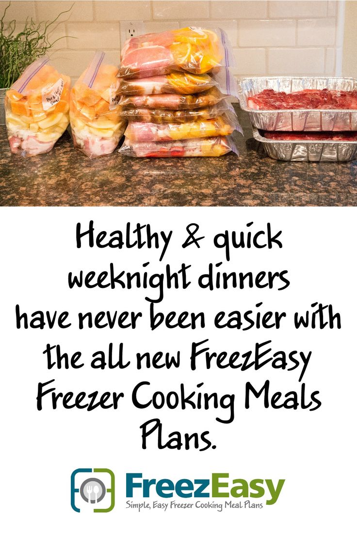 FreezEasy.com ~ Healthy, Quick Weeknight Dinners with these freezer cooking meal plans that help you get 10 meals into the freezer in less than 1 hour!