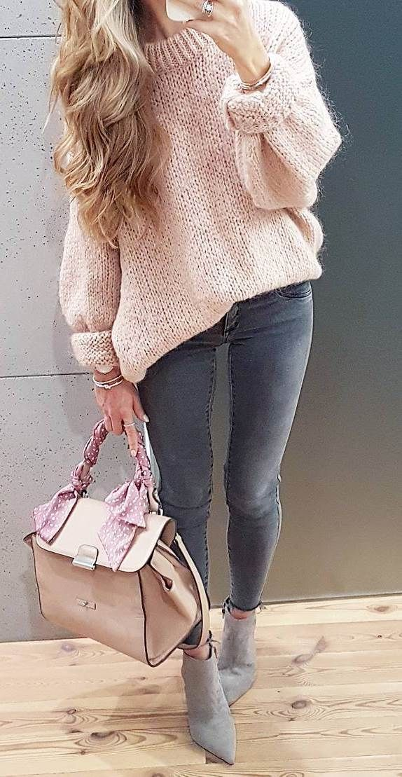 blush and grey outfit | knit sweater + bag + skinny jeans + boots #omgoutfitideas #fashionista #clothing