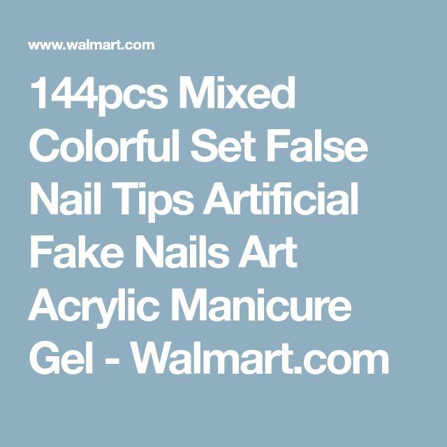 144pcs Mixed Colorful Set False Nail Tips Artificial Fake Nails Art Acrylic Manicure Gel - Walmart.com