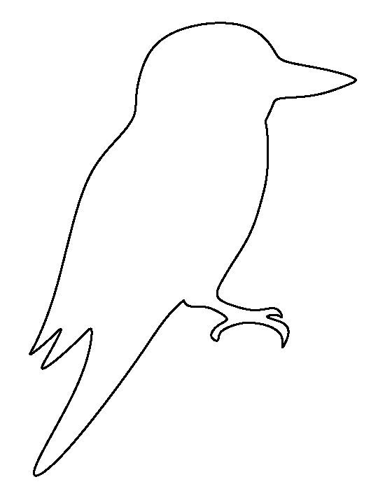 Kookaburra pattern. Use the printable outline for crafts, creating stencils, scrapbooking, and more. Free PDF template to download and print at http://patternuniverse.com/download/kookaburra-pattern/