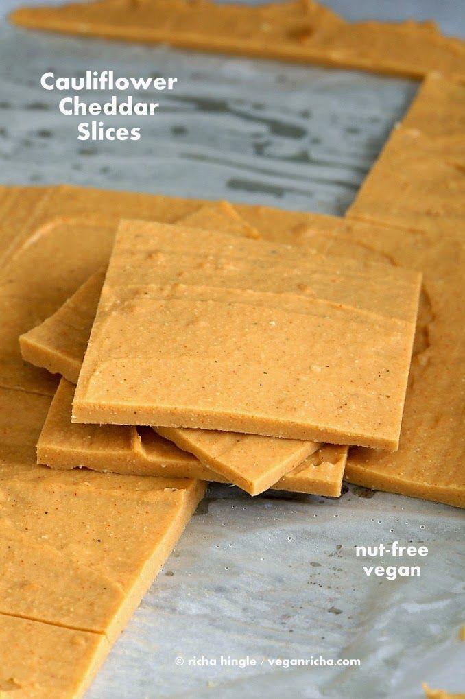Vegan Cauliflower Hemp Cheddar Slices. Nut-free