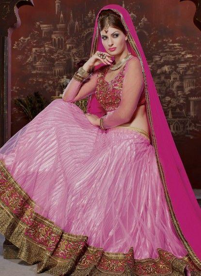 Pink Net Lehenga Choli With Zari Work
