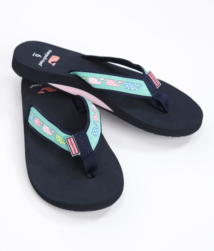 Polka Dot Whale Flip Flops from Vineyard Vines... I WANT THESE SO BAD