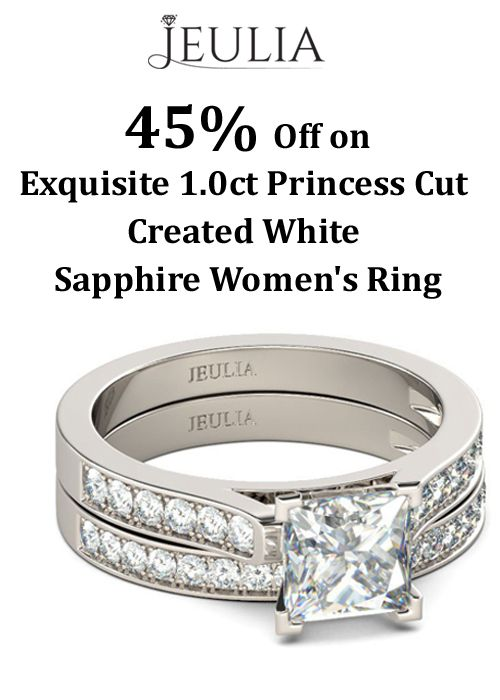 You can get 45% discount on Exquisite 1.0ct Princess Cut Created White Sapphire Women's Ring. This offer is currently activated on the site.  For more Jeulia Coupon Codes visit:  http://www.couponcutcode.com/coupons/45-off-exquisite-1-0ct-princess-sapphire-womens-ring/