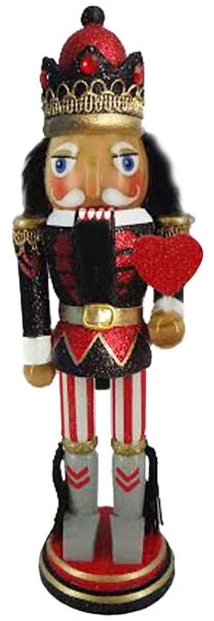 N1011: 10 inch Red and Black King of Hearts Nutcracker