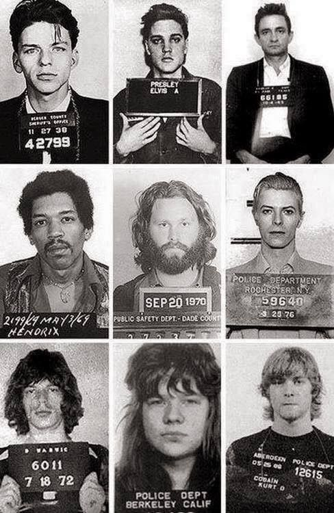 Vintage Mugshots. From Top Left, Frank Sinatra, Elvis Presley, Johnny Cash, Jimi Hendrix, Jim Morrison, David Bowie, Mick Jagger, Janis Joplin, and Kurt Cobain.