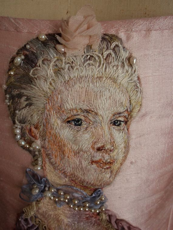 Marie Antoinette Portrait Hand Embroidered Silk Thread Painting Rococo Wedding Corset Bodice Paris Couture Theatre