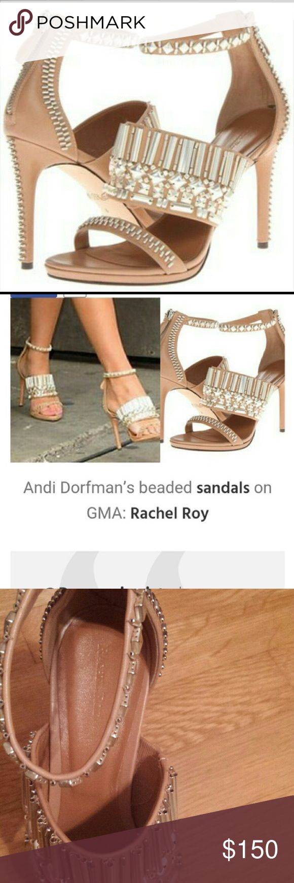 """Rachel Roy Padma Beaded Platform Sandals These gorgeous, sexy Rachel Roy studded heels would look great with almost any outfit. Super hot!! As seen on The Bachelorette, Andi Dorfman. The embellishments are a beautiful brushed silver. NEW in dust bag. Great deal for these gorgeous, designer heels! - Leather - Imported - Leather sole - 4 1/2"""" embellished heel; 1/2"""" platform = 4"""" equiv. - Intricate beading on all surfaces creates an electrifying glow in this rear-zip pump. Rachel Roy Shoes…"""