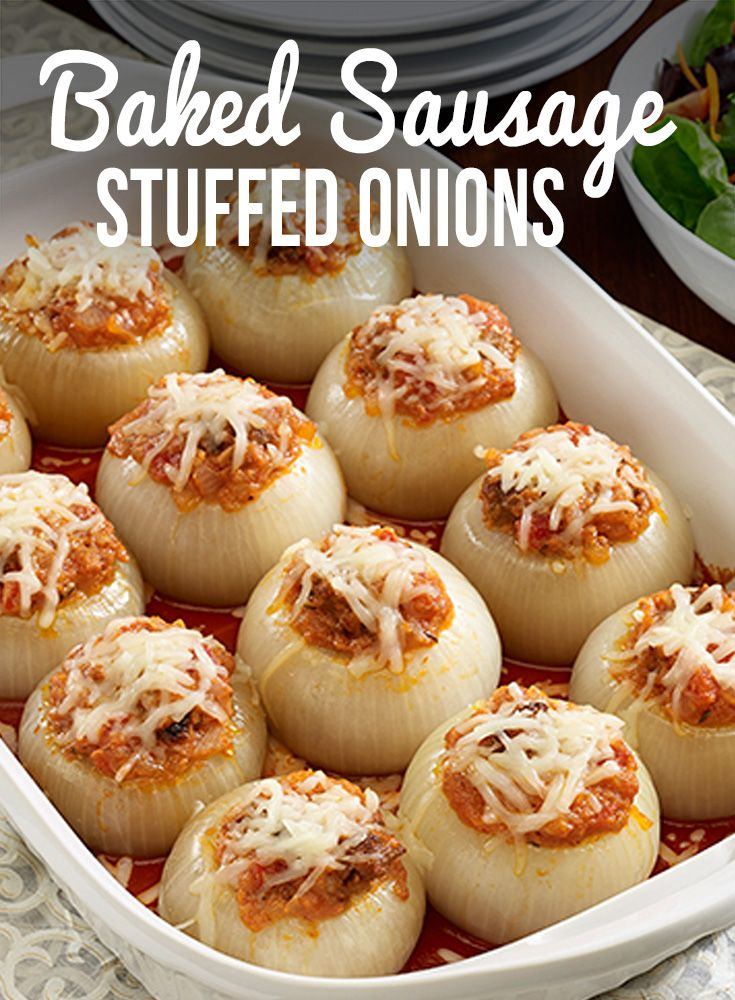 Impress party guests with these Baked Sausage Stuffed Onions, filled with Italian sausage, tomatoes, cheese and bread crumbs. HuntsAtHome AD