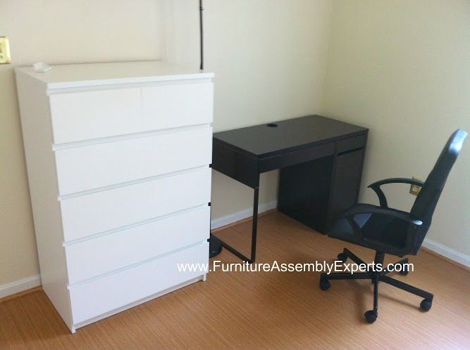 ikea micke desk and malm chest of drawers assembled in loudoun county va by furniture assembly. Black Bedroom Furniture Sets. Home Design Ideas