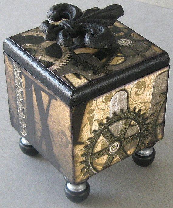 Steampunk Trinket Box by funkyart08 on Etsy, $30.00