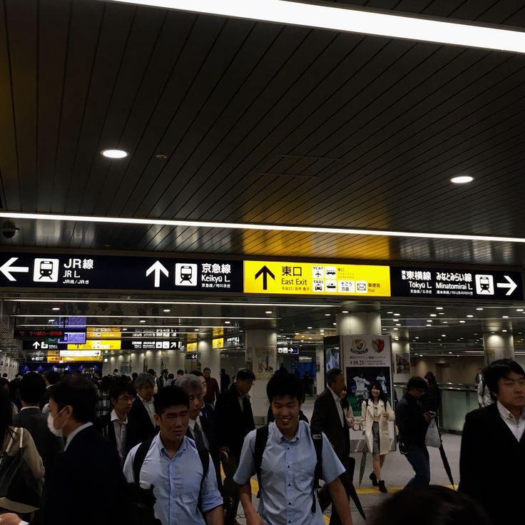 横浜駅、案内表示。黄色の色で目にはつきやすいが、案内としては、もう少しわかりやすいと良いかも。
