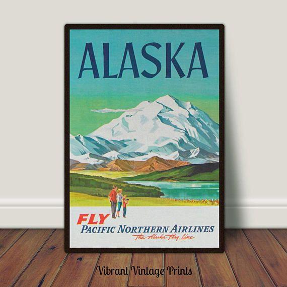 Alaska Denali Mount McKinley Retro Snow Vintage Travel