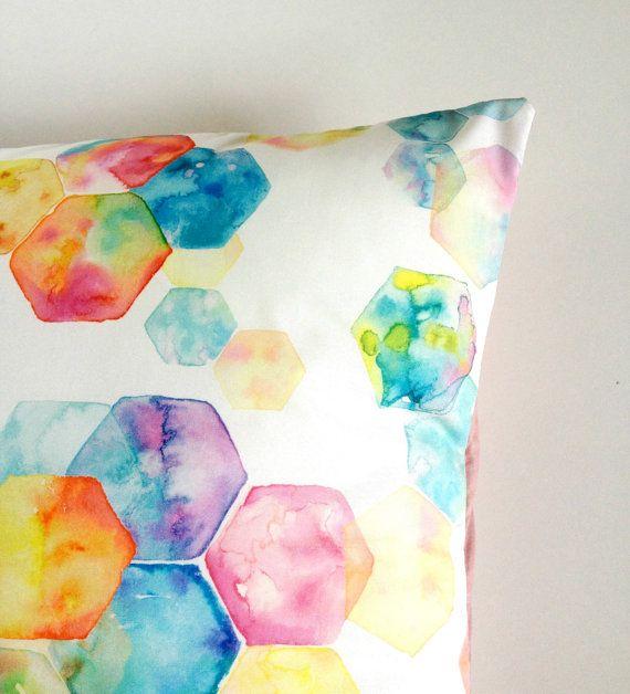 Hexagon Rainbow Multi-Colour Cushion Cover Geometric Watercolour Artwork Eco Friendly