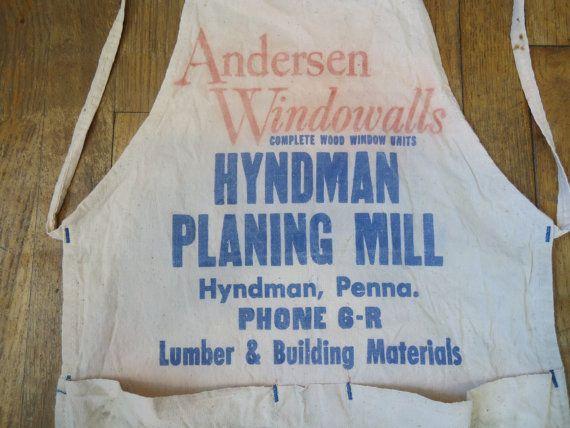 Vintage Work Apron, Hardware Store Apron, Full Size Apron