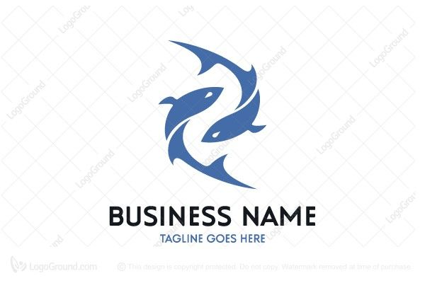 Logo for sale: Unique double fishes logo. The symbol itself will looks nice as social media avatar and website or mobile icon. seafood fish two fishing team club restaurant aquarium aqua aquaculture marine sea salmon cuisine fishery buy purchase sell on sale sold product business brand design graphic unique recognized professional software apps app applications application logo logos