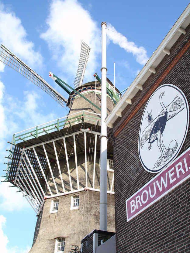 Drinking beer inside an old windmill turned brewery