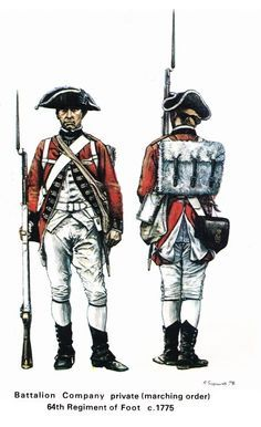 """British Soldiers in the American Revolution Part 1 - """"The strains and practicalities of combat resulted in a plethora of changes. Generally the red coats themselves had their tails cut away and their lace and facings removed to make them lighter, whilst the brims of the cocked hats were let down to keep off the sun. Full packs were replaced by bedrolls, tight breeches and gaiters with looser """"indian"""" trousers."""""""