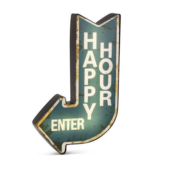 """LED Lighted Blue """"HAPPY HOUR ENTER"""" Arrow Metal & Plastic Sign. 9.84""""L x 16.1""""H. B/O, uses 3AA Batteries, not included. Has USB Port Convertible to Electric. USB Cable and Adaptor Sold Separately."""