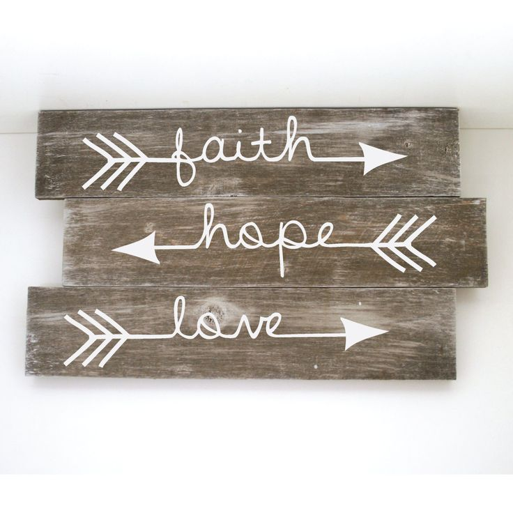 "Faith Hope Love Arrow Sign -  18"" x 11"", Whitewashed wood sign, Reclaimed Wood, DIY, Painted Wood Sign, Stained Wood, Craft Supplies by LEVinyl on Etsy"