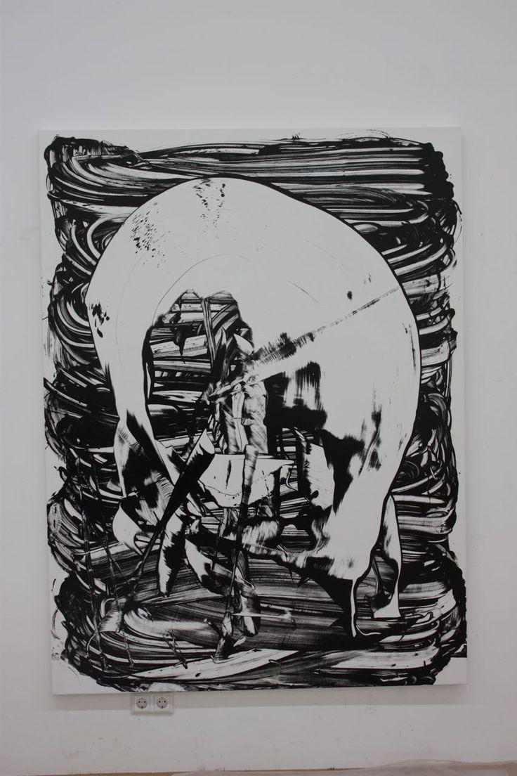 Judy Millar Untitled 2010 acrylic, screenprint on canvas 200x135cm