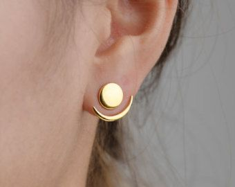 Floating Earrings, Handmade, Bridal Earrings, Gift for Her, Ear Jackets, Wedding Jewelry, Bridesmaid Stud, Stud Earrings, Studs, EJK003