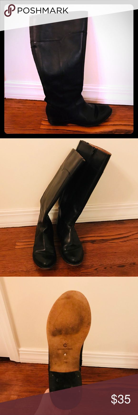 Black knee high boots Black, Corso Como, leather, tall riding boots, side zipper and stretch strip down the back. Corso Como Shoes Winter & Rain Boots