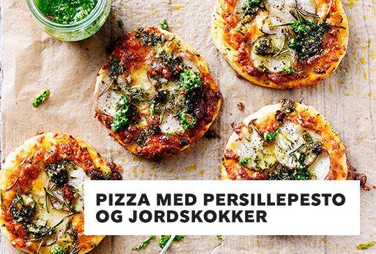 Pizza med persille pesto og jordskokker