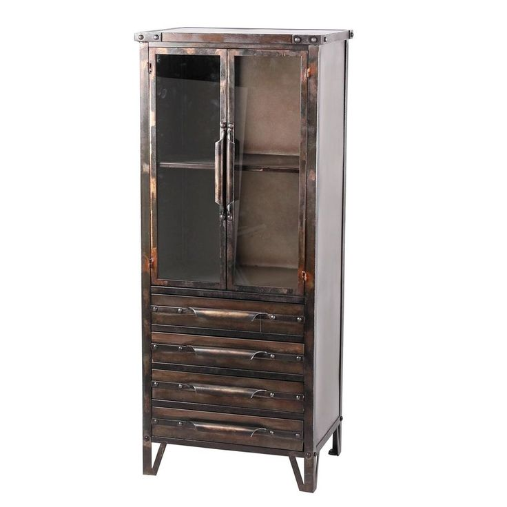 Industrial Metal/Glass Cabinet Bookcase w/Drawers Display Cupboard,52.25''H. #Unbranded #INDUSTRIAL