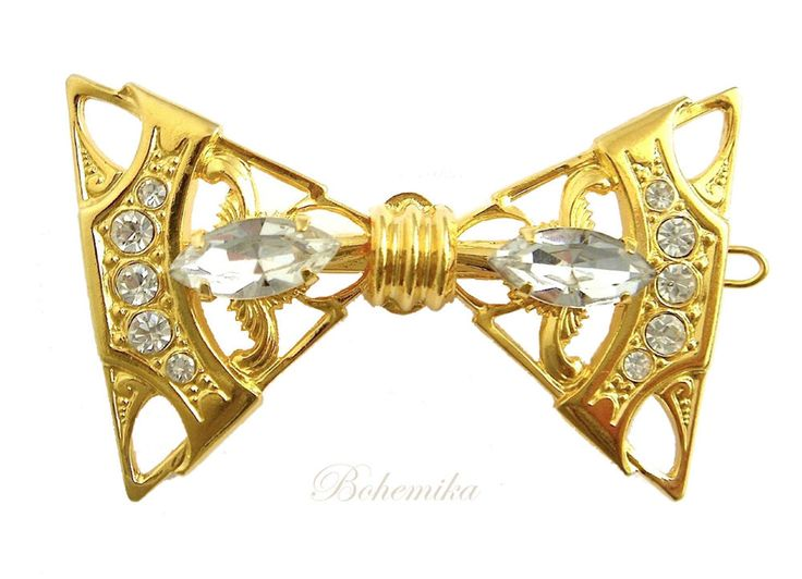 Vintage Czech Glass Scarf Pin Hair Clip Hairpin Crystal Ribbon Bow Gold LARGE