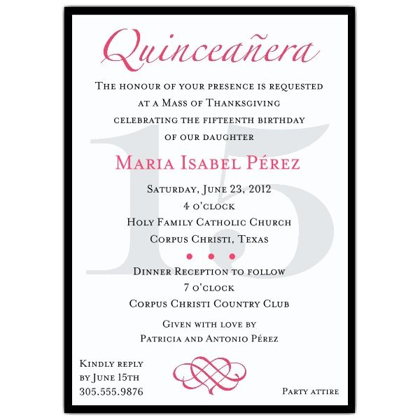 Quinceanera Invitation Wording Template