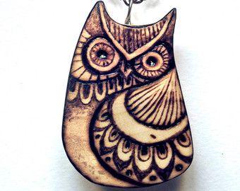 Owl Necklace, Owl pendant, Carved wood Owl, woodburning, Owl Jewelry, Nature, pyrography jewelry, wooden, woodland, wildlife, hippie, uk