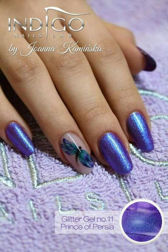 Nails by Joanna Kaminska whit glitter gel n. 11 #glittergel #nailart #acquerello #butterfly #torino #nailartist #indigonailspiemonte #indigonails