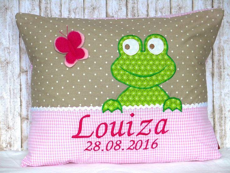 """Namenskissen & Decken - Namenskissen """" Frosch """" taupe/rosa inkl.1.Name - ein Designerstück von Julies-Place bei DaWanda"""