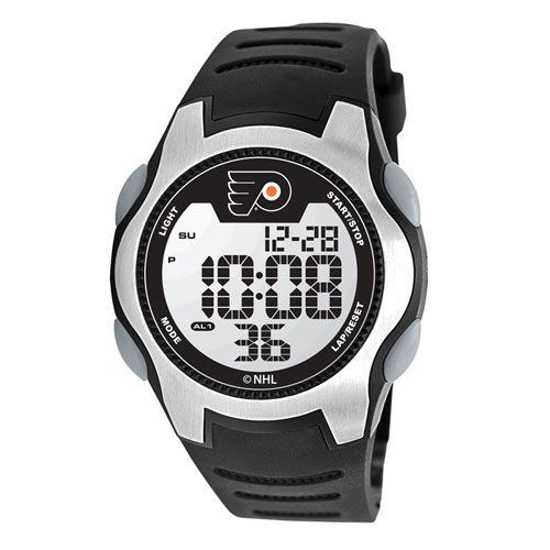 Game Time Men's NHL-TRC-PHI Philadelphia Flyers Watch Game Time. $49.95. Solid 5-feature liquid crystal display (lcd) digital movement with easy set function-time (hour, minute, second), calendar (month, date, year), 1/100 chronograph stop watch, dual alarm, el backlight,. High quality synthetic leather polyurethane construction all purpose strap with solid stainless steel buckle closure with keeper,. Tough, durable, impact resistant polycarbonate case constructio...