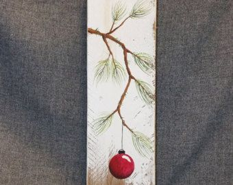 Peint à la main rouge décoration de Noël, cadeau, branche de pin avec ampoule ROUGE, bois de grange régénérée, art de la palette, Shabby chic