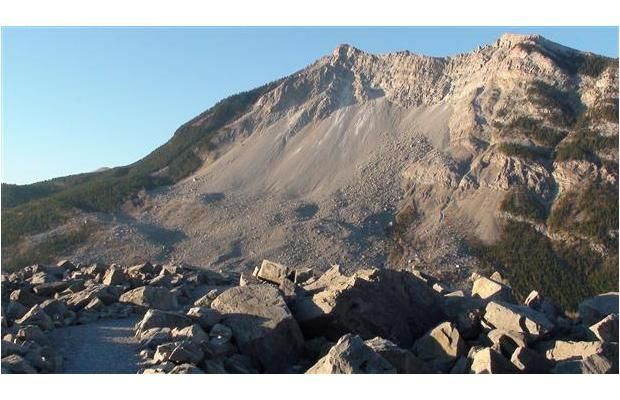 Frank Slide, Alberta, Canada - On April 23, 1903, the town of Frank, Alberta was buried. The adjacent Turtle Mountain literally fell on top of the sleeping residents. Seventy-six were reported dead. Many more bodies may remain under the un-touched wreckage of the town. Everything still lies under these rocks and many visitors and park officers regularly report seeing and hearing spirits here.