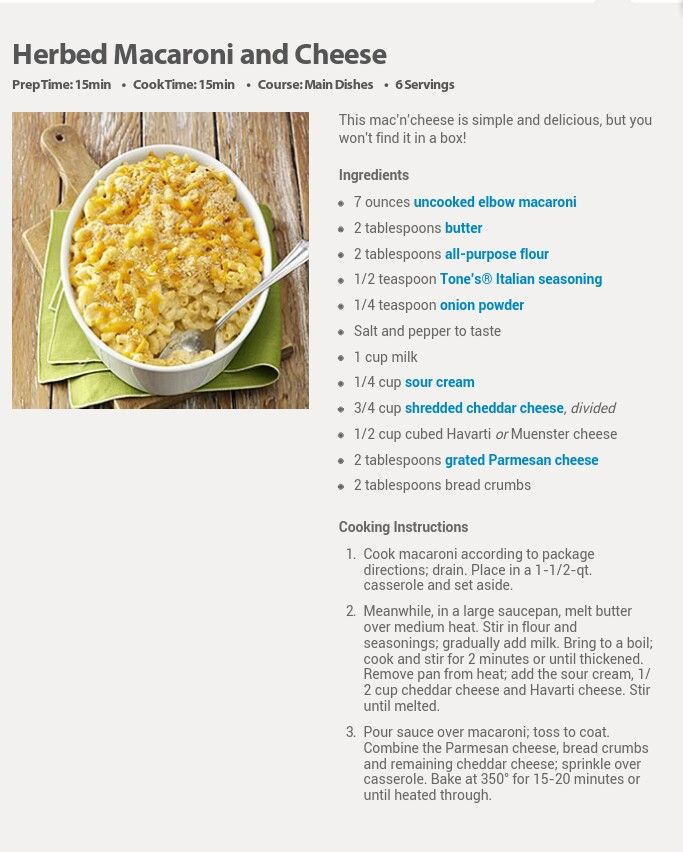 Herbed Mac And Cheese Recipe — Dishmaps