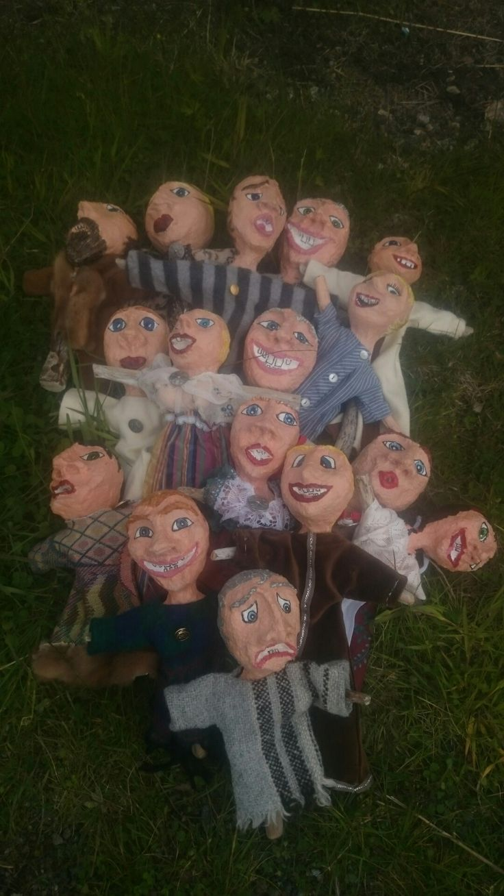 A bunch of driftwood /paperclay dolls