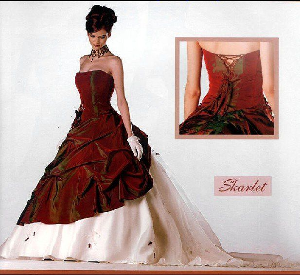 Free Shipping Best Selling Red and White Strapless Wedding Dresses any size/color