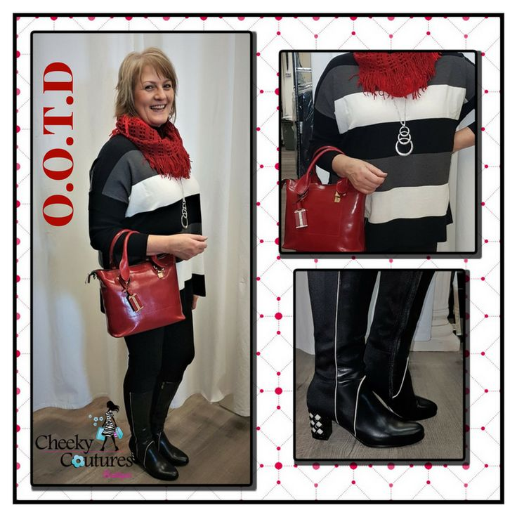 Ooh look at these delicious pops of color! We've got a great chunky red infinity scarf, layered underneath is a long versatile silver necklace, to the light weight sweater with such easy to wear tones. Ahh, and then the gorgeous red handbag, finishing off the look with Luv Shoes Boots that happen to be on sale!