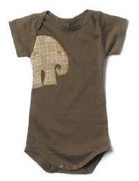Certified organic cotton one piece with linen applique:  brown elephant design.    Available at www.mybabypeanut.com