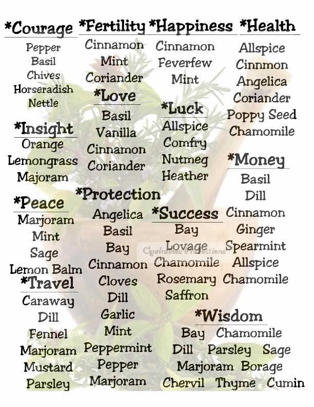 Herb Correspondence MY Opalraines Production   Magic herbs ...