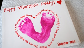 Valentine's Day with baby footprints.