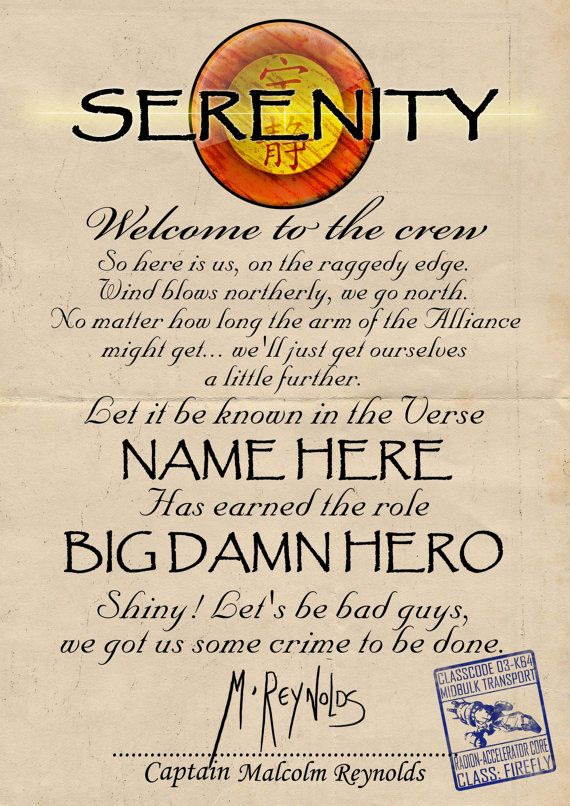 Custom Firefly Serenity ship crew acceptance letter by Zomboids, £5.00