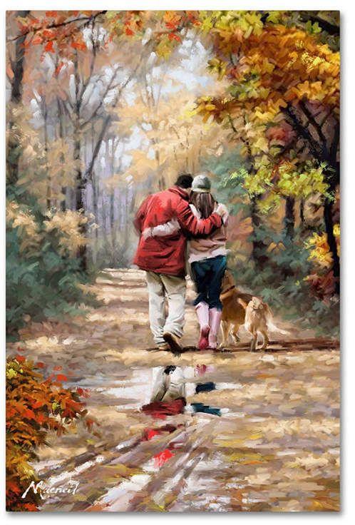 Das Macneil Studio 'Couple Walking' Leinwand - 47 x 30 x 2