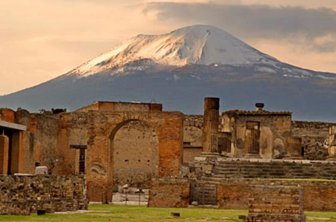 Pompeii  and Mt Vesuvius outside of Naples, Italy.  Book a private tour guide to get  the most out of this visit.  Allot 3 + hours and visit Herculaneum nearby if possible, for more intact ruins.