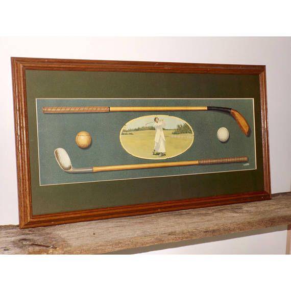 Framed Golf Print Wood Frame Gl Front Female Golfer B